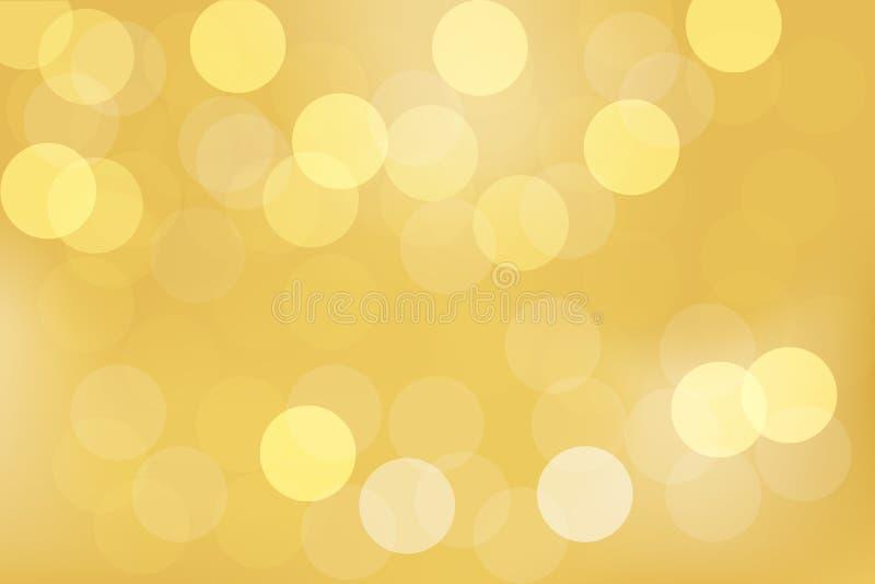Abstracte gouden bokehachtergrond met geel en wit licht stock fotografie
