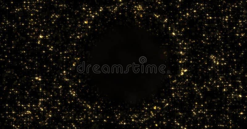 Abstracte gouden deeltjes en fonkelende sterren of het flikkeren licht rond leeg cirkelgebied De gouden lichte gloed glanst of gl vector illustratie