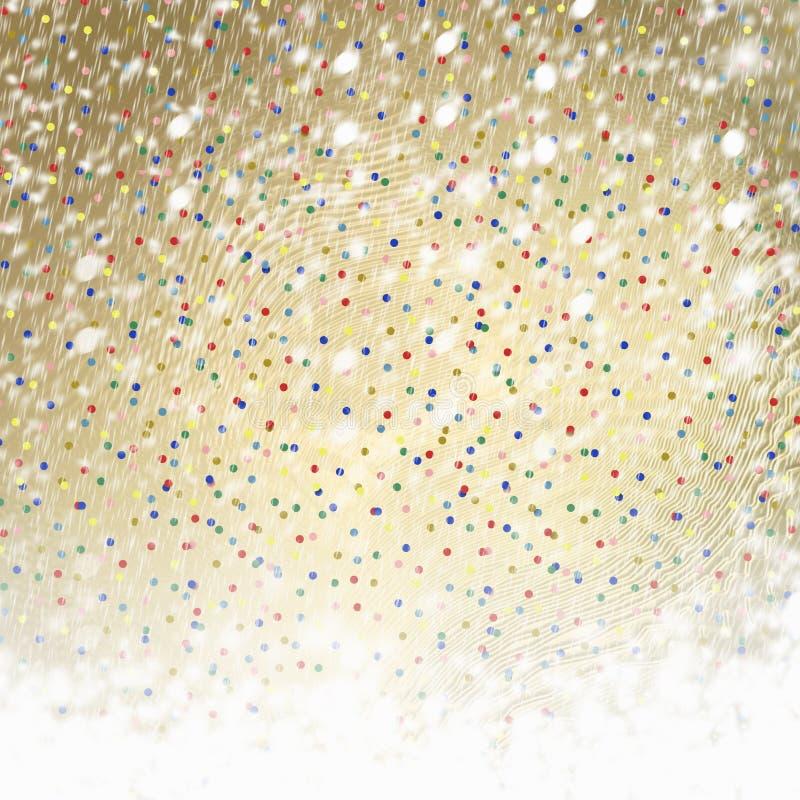 Abstracte gouden document achtergrond met multicolored confettien royalty-vrije illustratie