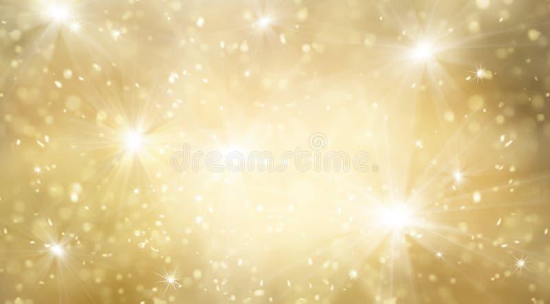 Abstracte gouden en helder schittert voor nieuwe jaarachtergrond royalty-vrije illustratie