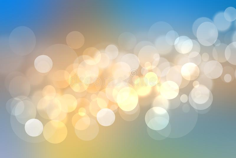 Abstracte gouden feestelijke textuur als achtergrond met witte en blauwe verlichtings bokeh cirkels Mooie textuur royalty-vrije illustratie
