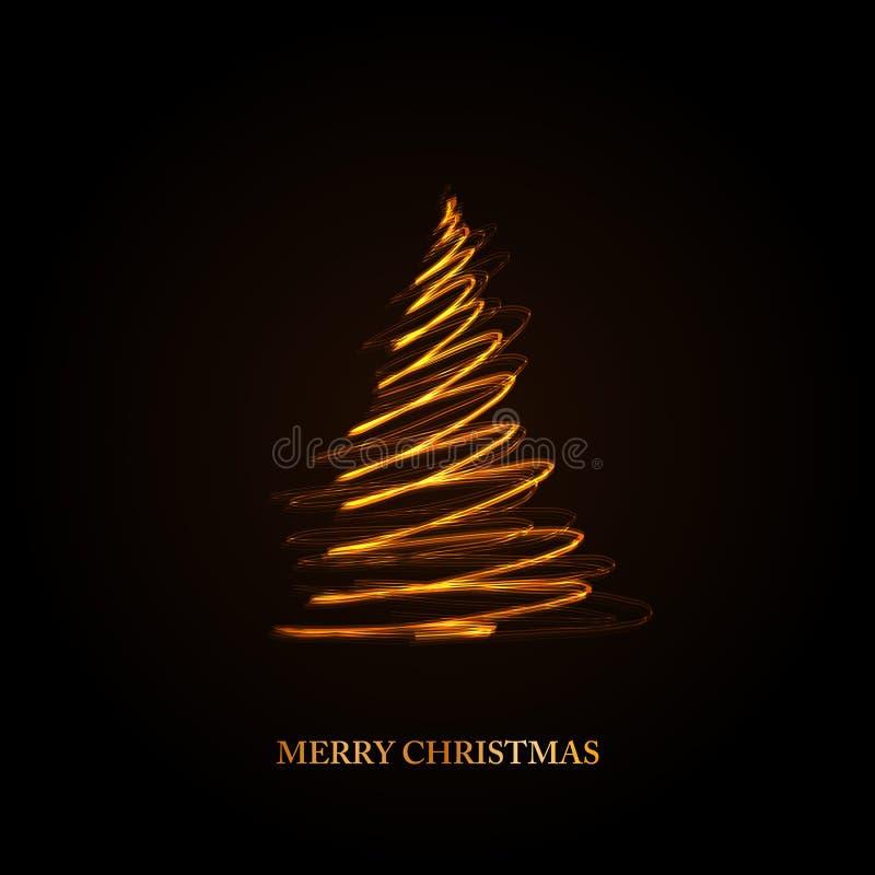 Abstracte gouden Kerstmisboom op zwarte achtergrond royalty-vrije illustratie