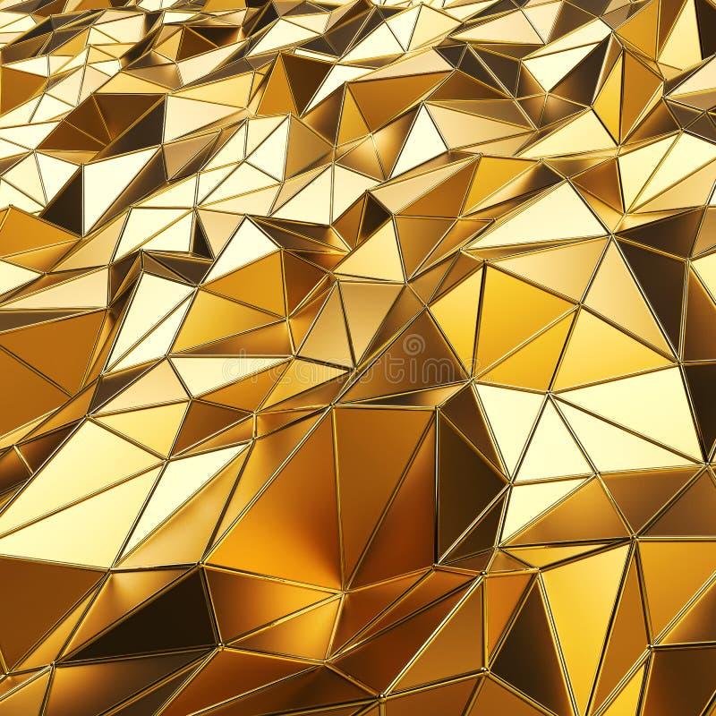 Abstracte gouden veelhoeken 3D teruggevende achtergrond stock illustratie