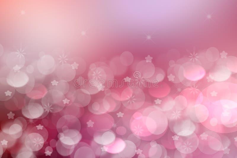 Abstracte gradiënt purpere roze textuur als achtergrond met vage bokeh cirkels en sterlichten Ruimte voor ontwerp royalty-vrije illustratie