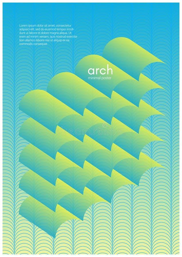 Abstracte gradiëntachtergrond met een golvende vorm Vector geometrisch malplaatje stock illustratie