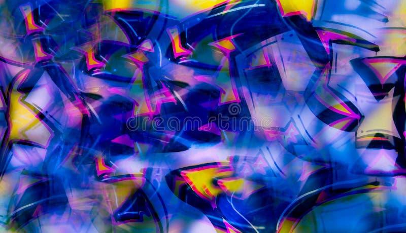 Abstracte graffitiimitatie in digitale collage stock afbeeldingen