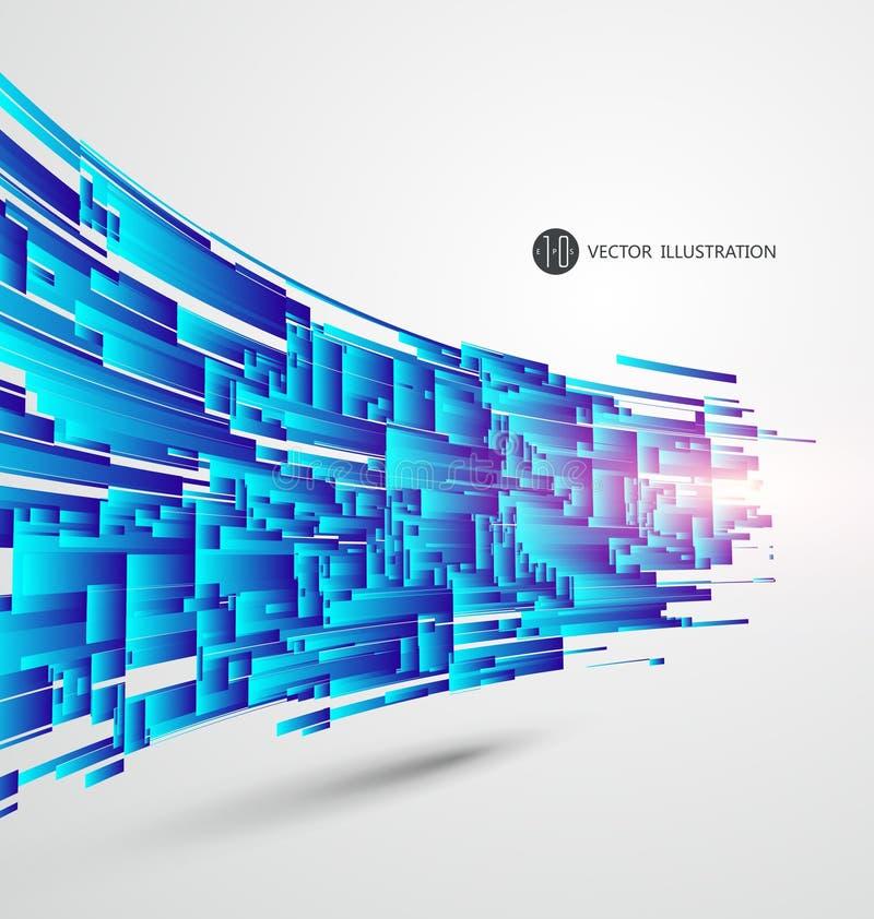 Abstracte grafiek, vectorillustratie, Blauwe ontwerpkaart als achtergrond vector illustratie