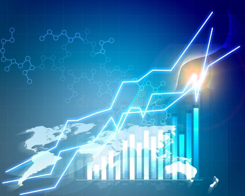 Abstracte grafieken en grafieken op blauwe achtergrond met stock illustratie