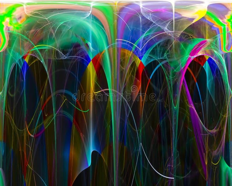 Abstracte grafische fractal, motie, maakt stijleffect decoratie toekomstig glanzend fantasieontwerp, vlam, stroom vector illustratie