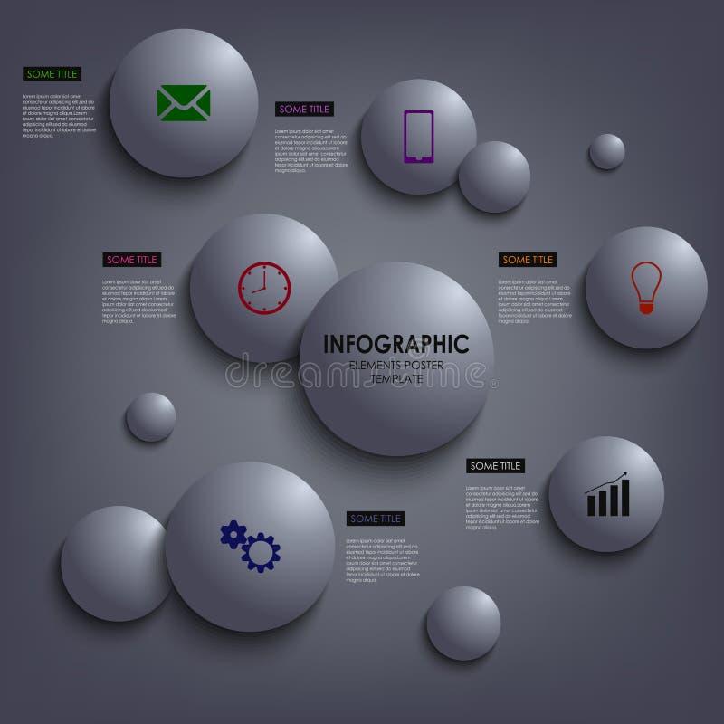 Abstracte grafische informatie gekleurd om elemententempla stock illustratie
