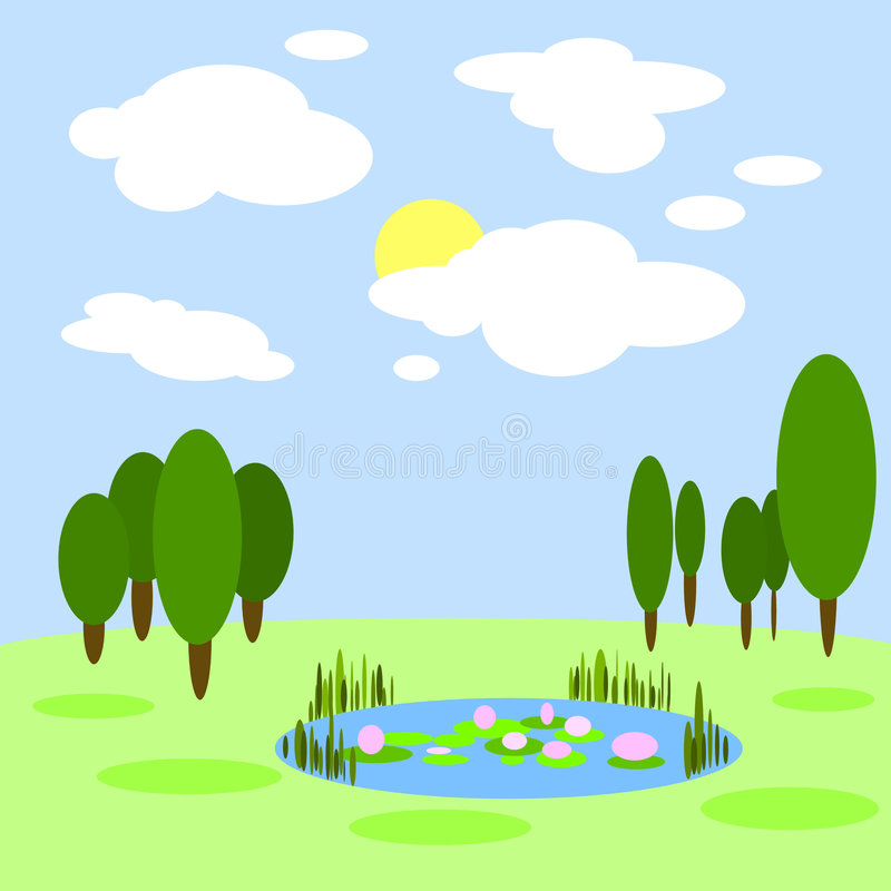 Abstracte grafische landschapsillustratie stock illustratie