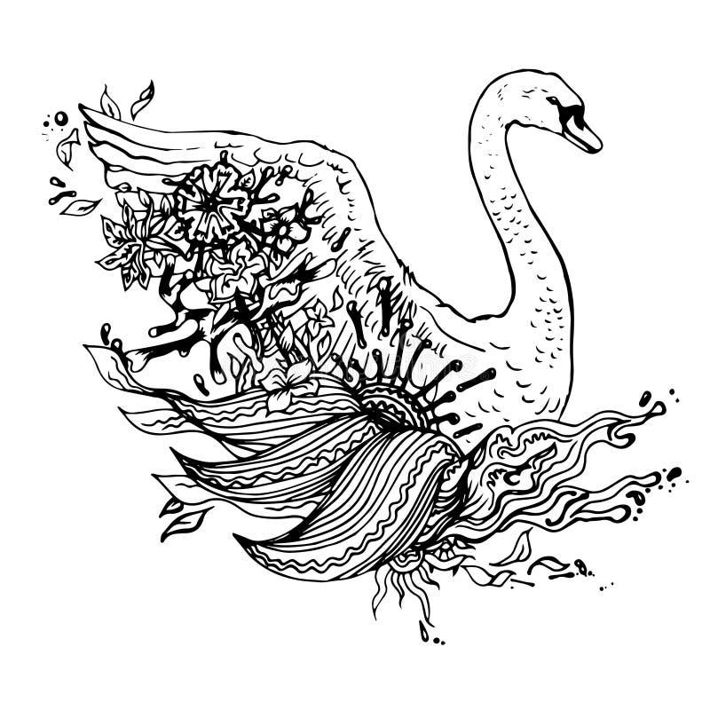 Abstracte grafische zwaan, druk royalty-vrije illustratie