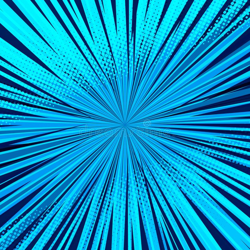 Abstracte grappige blauwe achtergrond voor het ontwerp van het stijlpop-art Retro achtergrond van het uitbarstingsmalplaatje stock illustratie