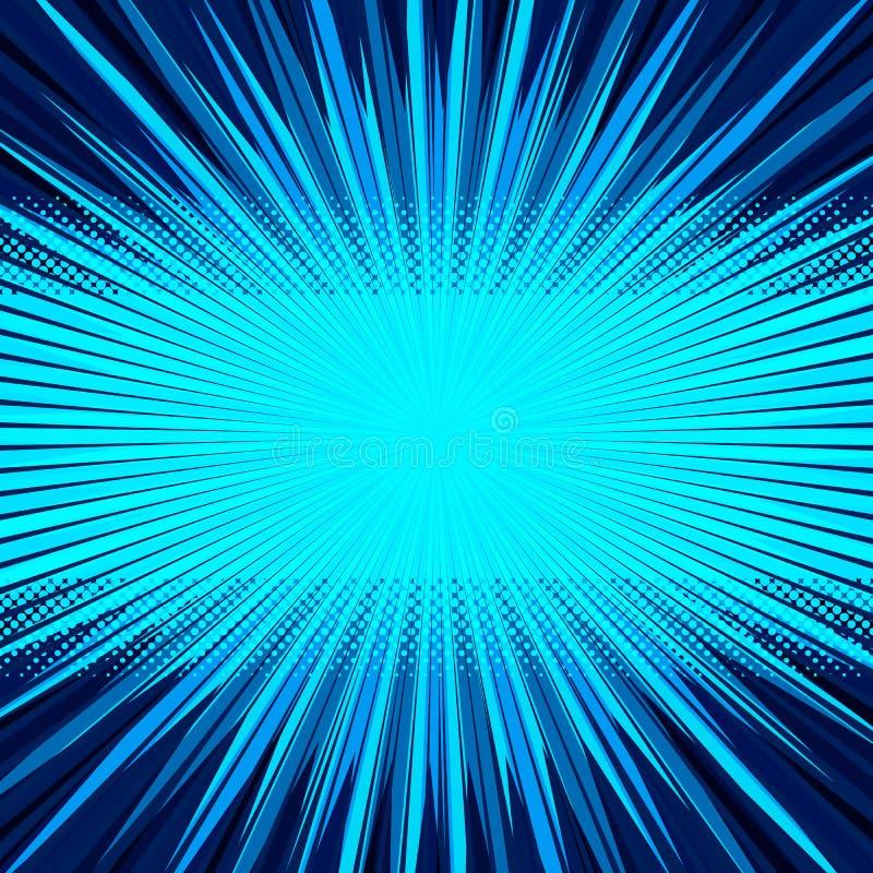 Abstracte grappige blauwe achtergrond voor het ontwerp van het stijlpop-art Retro achtergrond van het uitbarstingsmalplaatje royalty-vrije illustratie
