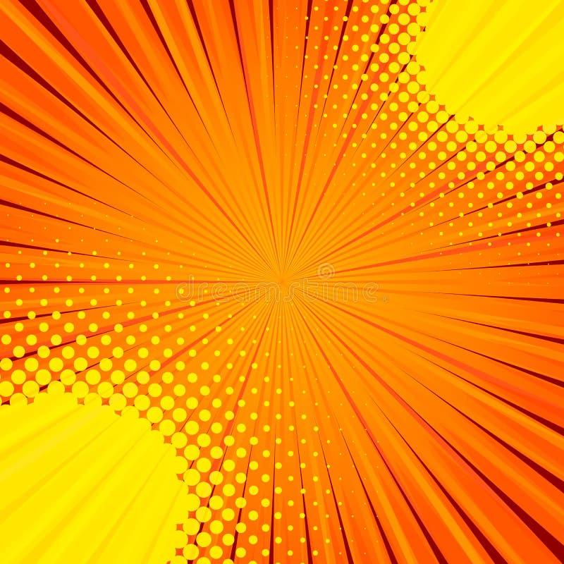 Abstracte grappige oranje achtergrond voor het ontwerp van het stijlpop-art stock illustratie