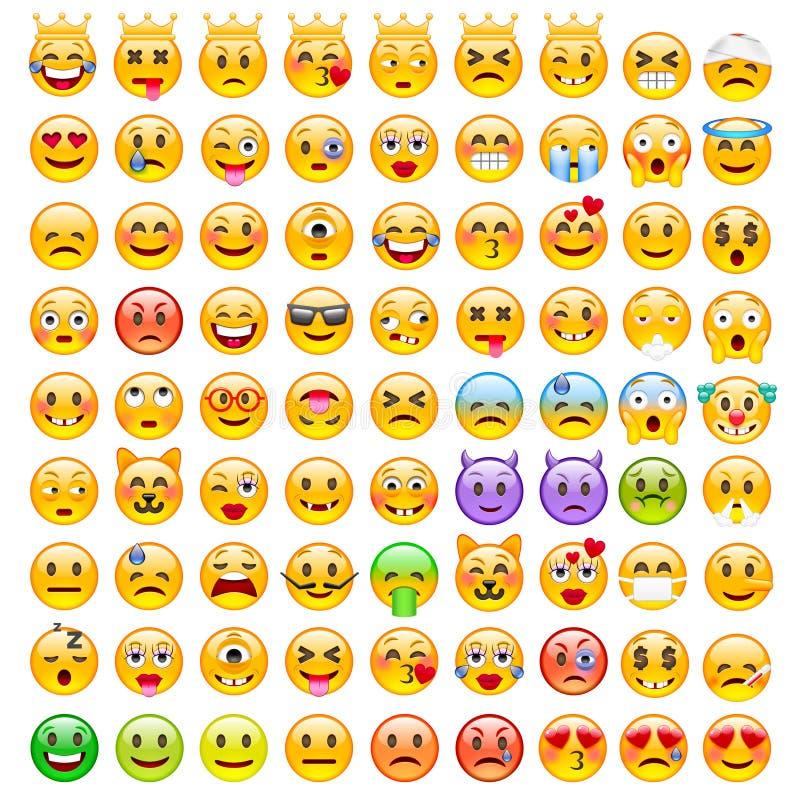 Abstracte Grappige Reeks van Emoticons Reeks van Emoji royalty-vrije illustratie