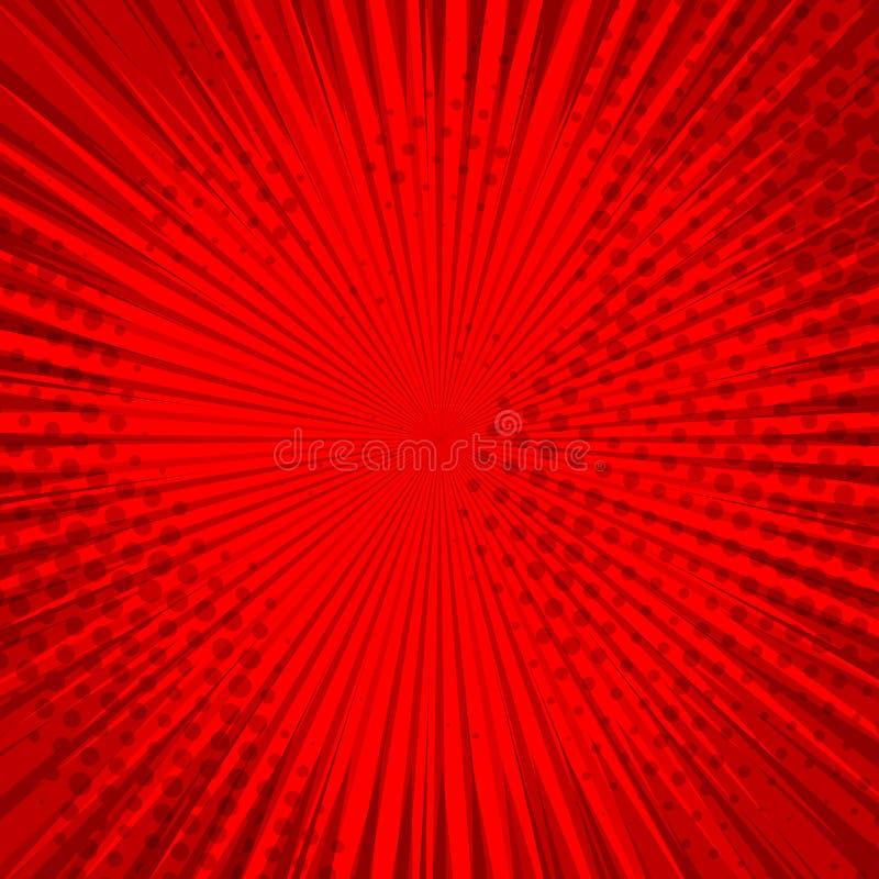 Abstracte grappige rode achtergrond voor het ontwerp van het stijlpop-art Retro achtergrond van het uitbarstingsmalplaatje Lichte royalty-vrije illustratie