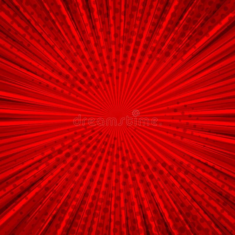 Abstracte grappige rode achtergrond voor het ontwerp van het stijlpop-art Retro achtergrond van het uitbarstingsmalplaatje Lichte stock illustratie