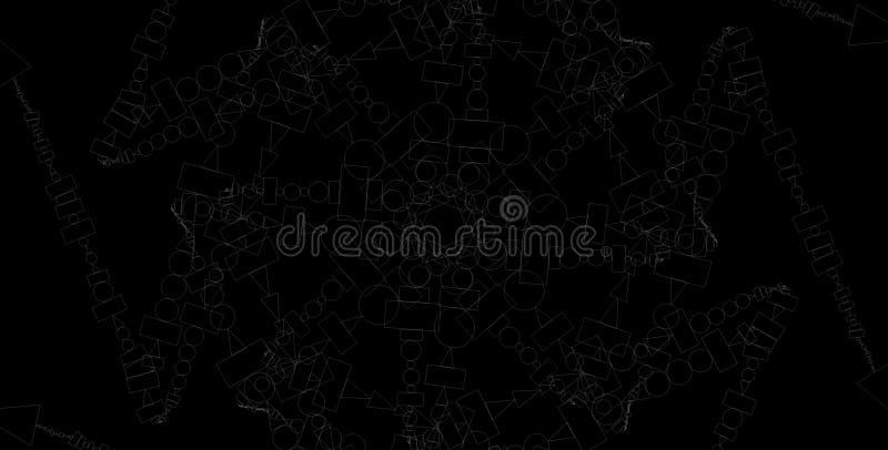 Abstracte grayscale geometrische achtergrond Geometrisch vormen creatief ontwerp met zwarte achtergrond stock illustratie