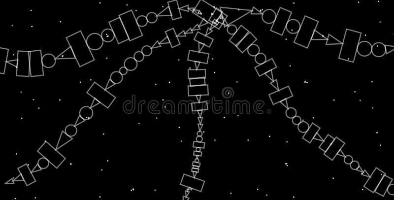 Abstracte grayscale geometrische achtergrond Geometrisch vormen creatief ontwerp met zwarte achtergrond royalty-vrije illustratie