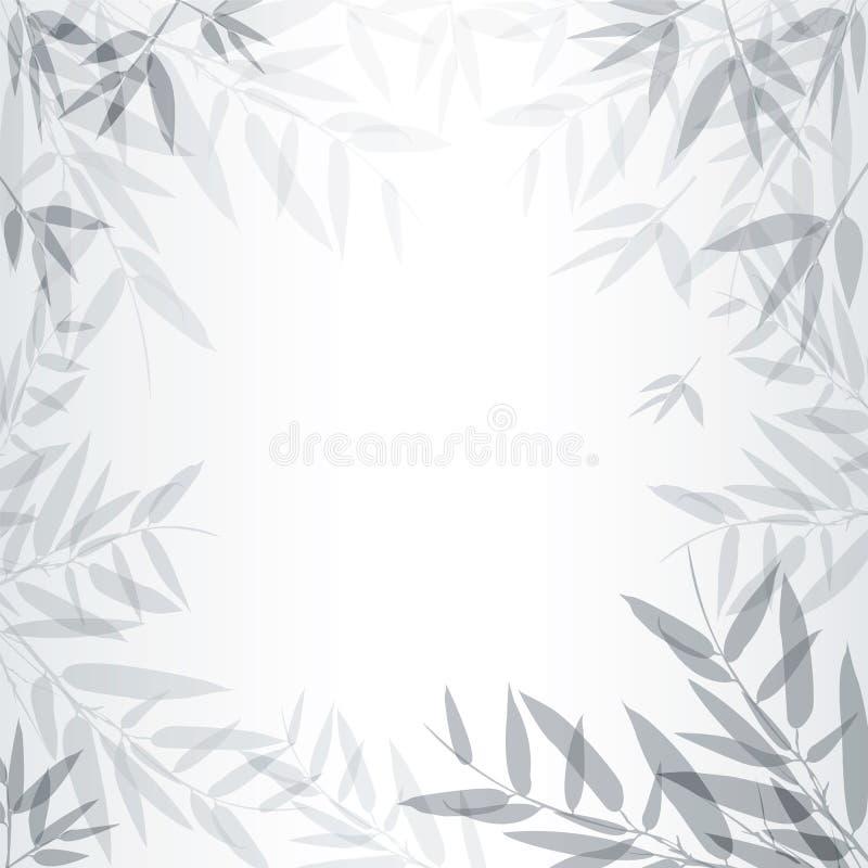 Abstracte grijze achtergrond met bladeren vector illustratie
