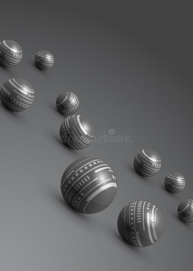 Abstracte grijze achtergrond van technologie de zilveren ballen royalty-vrije illustratie