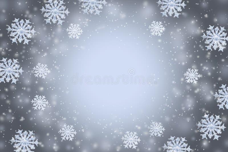 Abstracte grijze de winterachtergrond met de sneeuwvlokken en exemplaarruimte in het centrum stock illustratie