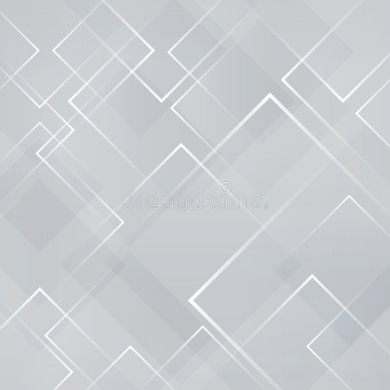 Abstracte grijze en witte vierkante de laserachtergrond van de vormtechnologie royalty-vrije illustratie