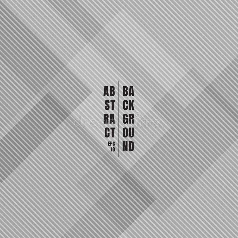 Abstracte grijze geometrische vierkanten die met de de diagonale textuur en achtergrond van het lijnenpatroon overlappen vector illustratie
