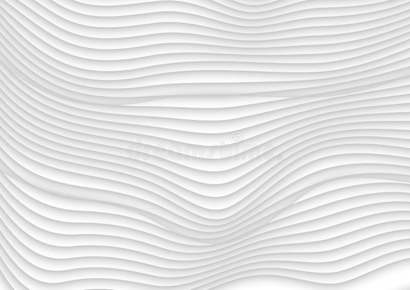 Abstracte grijze witte 3d golven vectorachtergrond vector illustratie