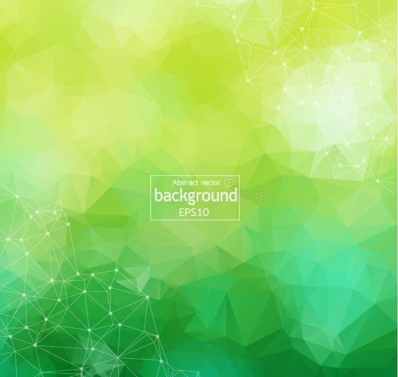 Abstracte Groen Licht Geometrische Veelhoekige molecule en mededeling als achtergrond Verbonden lijnen met punten Concept de wete stock illustratie
