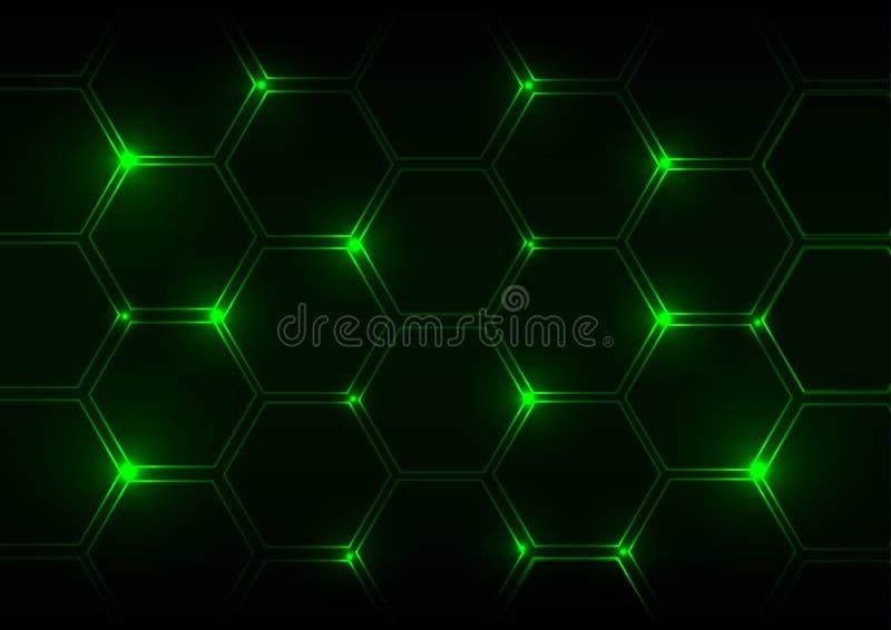 Abstracte groen lichtachtergrond met zeshoeken vector illustratie