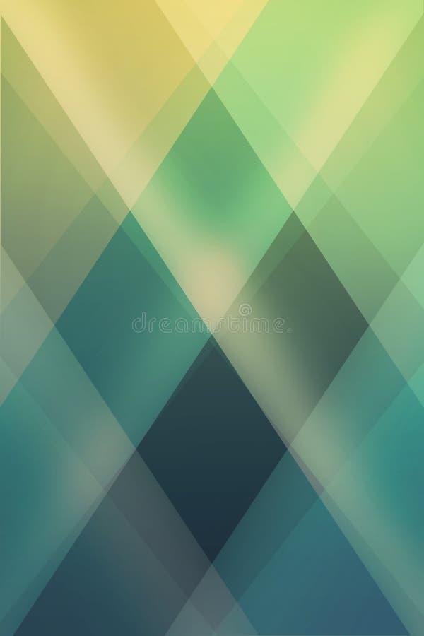 Abstracte groenachtig blauwe en gele achtergrond met diamantvormen gelaagd in eigentijds modern kunstontwerp stock illustratie
