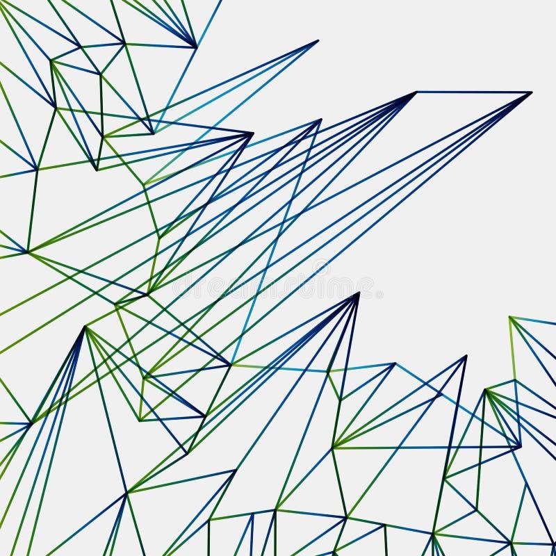 Abstracte groene de lijnenachtergrond van eind blauwe techno, technopatroon vector illustratie