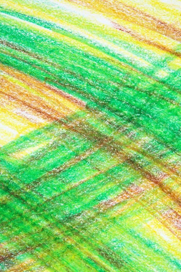 Abstracte groene en gele kleurpotloodtekening royalty-vrije stock afbeeldingen