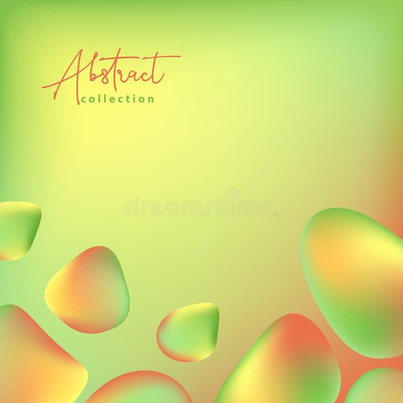 Abstracte groene, gele en oranje vector in achtergrond met vloeibare gradiënt 3d vormen, vloeibare kleuren Geïsoleerd vloeibaar o royalty-vrije illustratie
