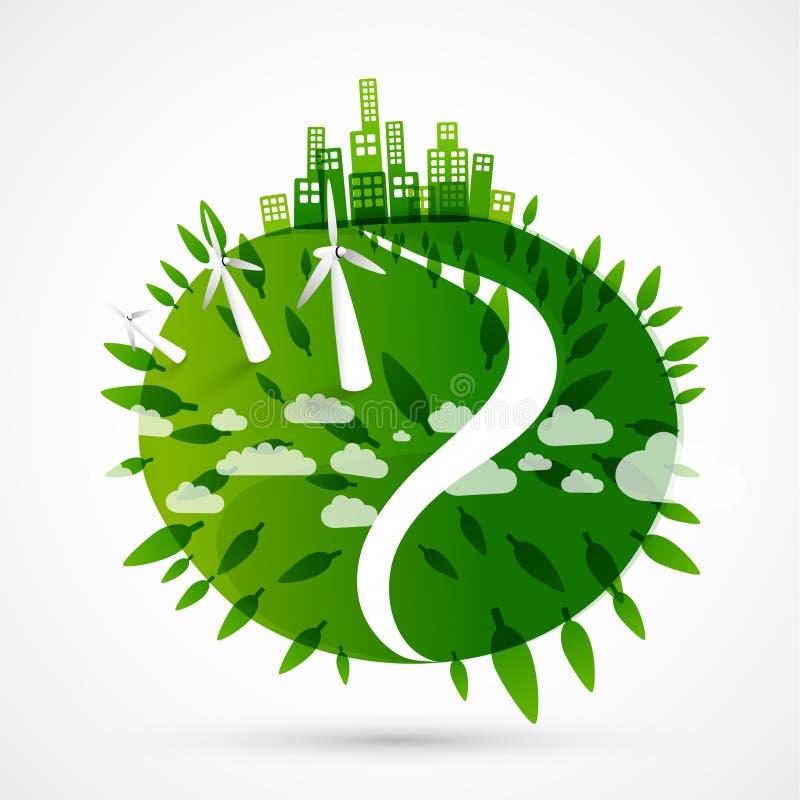 Abstracte groene wereldillustratie royalty-vrije illustratie
