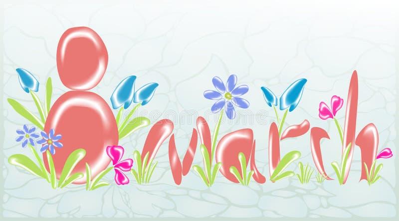 Abstracte groetkaart op 8 Maart met glasbloemen EPS10 vectorillustratie vector illustratie