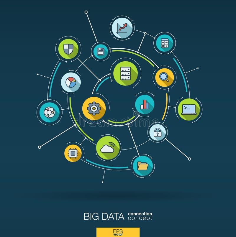 Abstracte grote gegevensachtergrond Digitaal sluit systeem aan geïntegreerde cirkels, vlakke dunne lijnpictogrammen aan Infograph vector illustratie