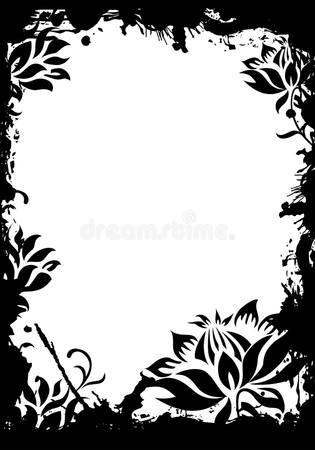 Abstracte grunge bloemen decoratieve zwarte frame vectorillustratio vector illustratie