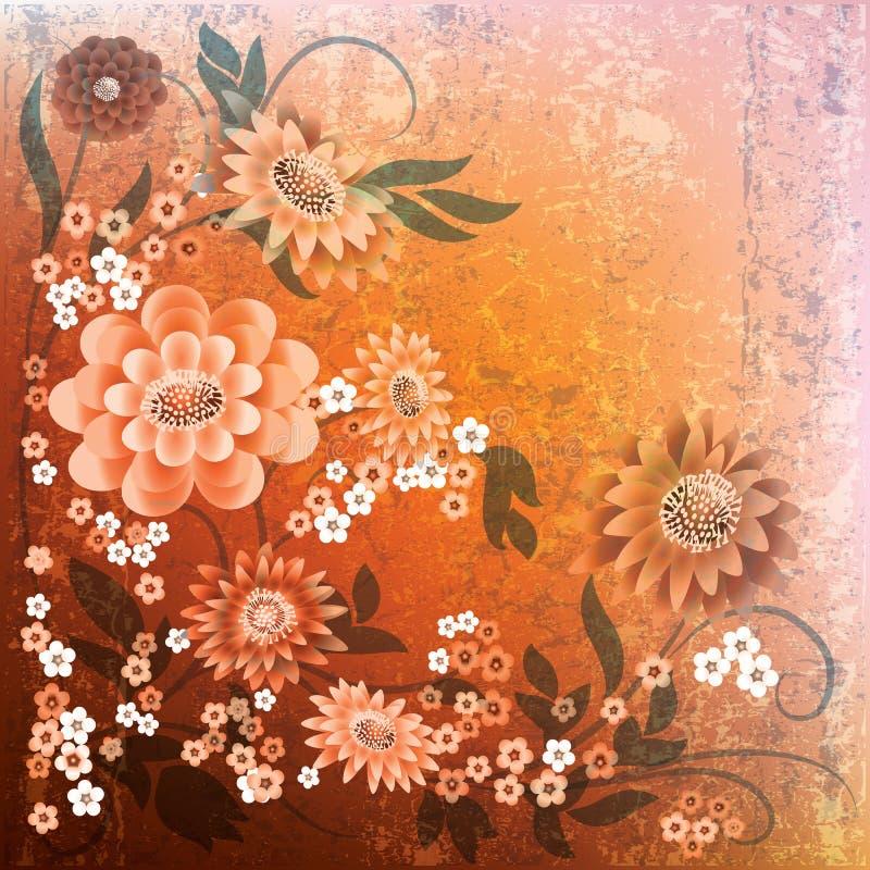 Abstracte grunge bloemenachtergrond met bloemen stock fotografie