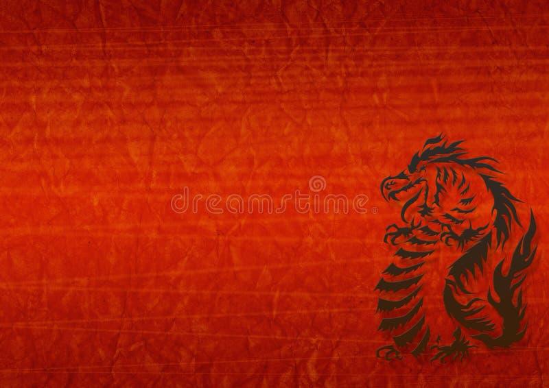Abstracte grungeachtergrond met een draak royalty-vrije illustratie