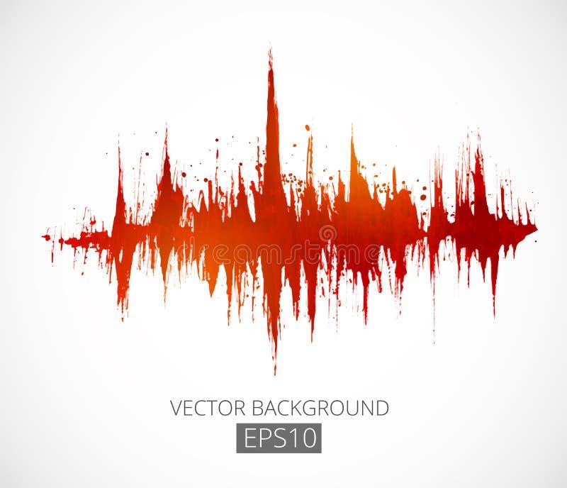 Abstracte grungeachtergrond met omvangmodulatie Spectrumanalysator, muziekequaliser, correcte golf Vector royalty-vrije illustratie