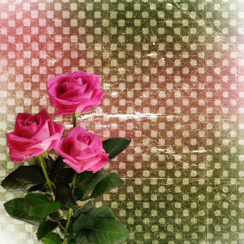 Abstracte grungeachtergrond met rozen voor ontwerp royalty-vrije illustratie
