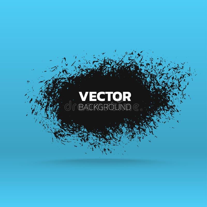 Abstracte grungebanner De pennenstreekachtergrond van de borstel zwarte verf Vector Malplaatje royalty-vrije illustratie