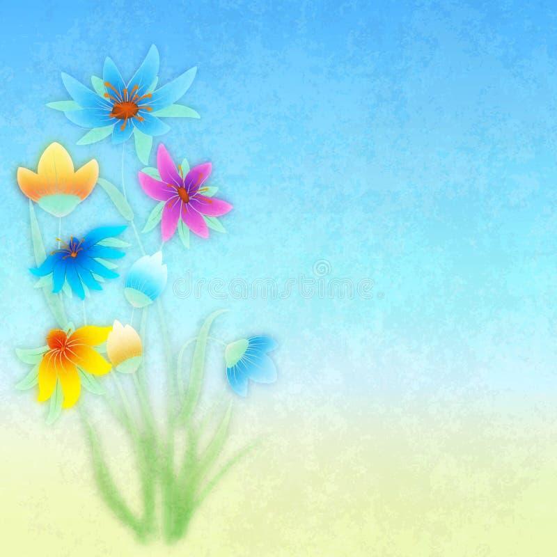 Abstracte grungesamenstelling met bloemen op blauw royalty-vrije illustratie