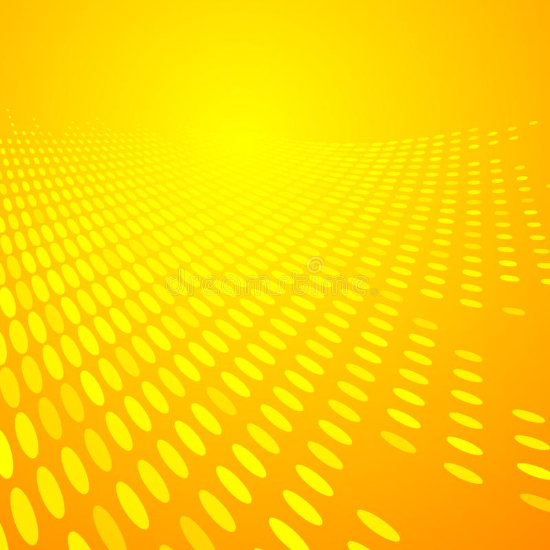 Abstracte halftone gele en oranje de kleurenperspecti van het puntenpatroon stock illustratie