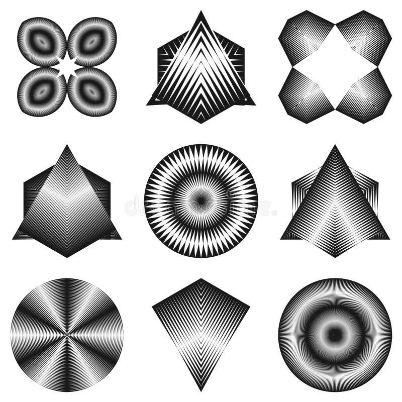 Abstracte halftone lijnen geometrische vormen vector illustratie