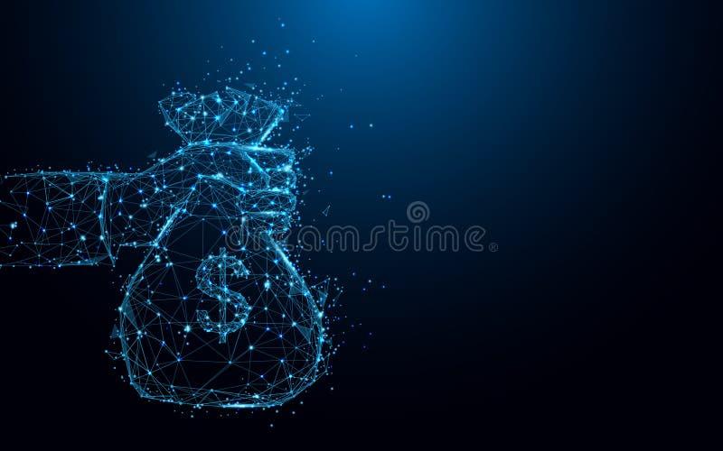 Abstracte hand die een vormlijnen van de geldzak en driehoeken, punt verbindend netwerk op blauwe achtergrond houden stock illustratie