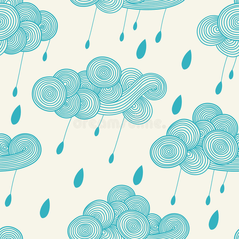 Abstracte hand-drawn golvende wolk met regendruppels Vector naadloos patroon stock illustratie